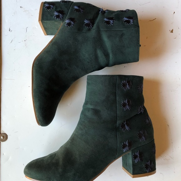 Urban Outfitters Shoes - Forest green velvet booties